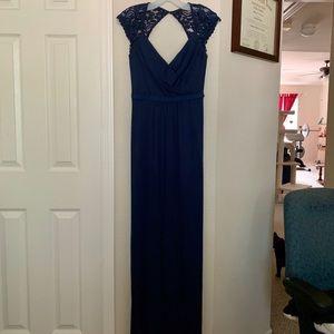 David's Bridal Long Mesh Dress w/ Lace Cap Sleeves